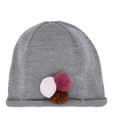 Petit Bateau Girl's Grey Pom Pom Hat