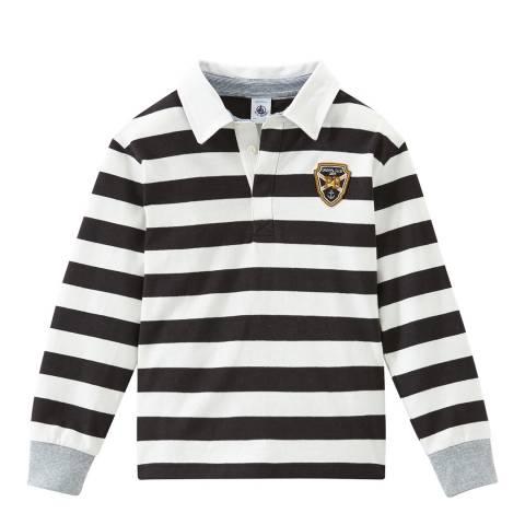Petit Bateau Boy's Grey/Off White Rugby Shirt