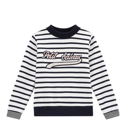 Petit Bateau Boy's Off White/Navy Logo Sweatshirt