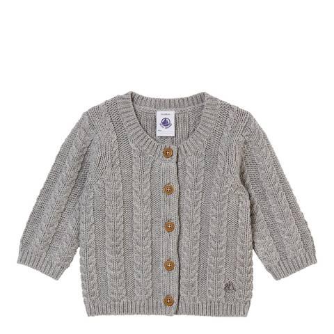 Petit Bateau Grey Cable Knit Cardigan