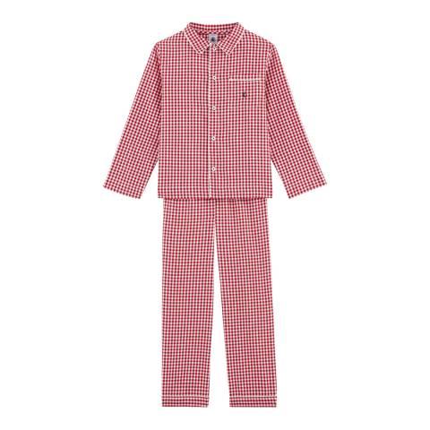 Petit Bateau Boy's Red Checked Pyjamas