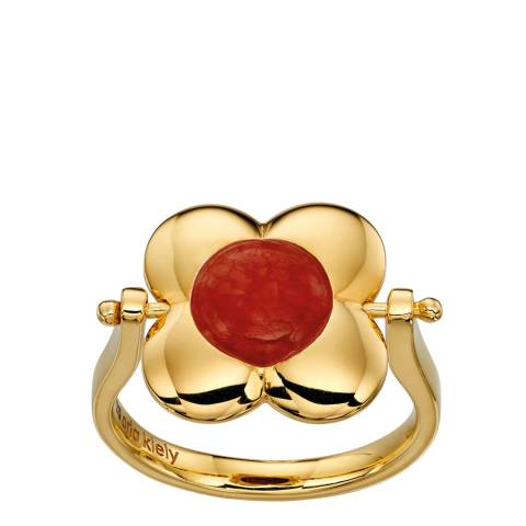 Orla Kiely Inlay Yellow Gold Plated Rotating Ring