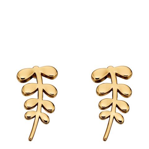 Orla Kiely Leaf Yellow Gold Stud Earrings