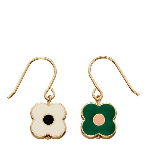 Orla Kiely Yellow Gold Plated Abacus Flower Drop Earrings