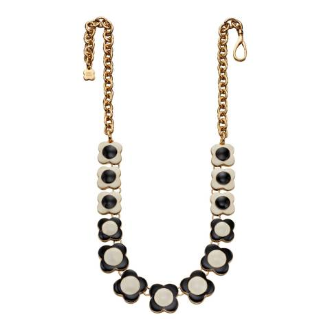 Orla Kiely Cream And Black Reversed Flowershort Necklace