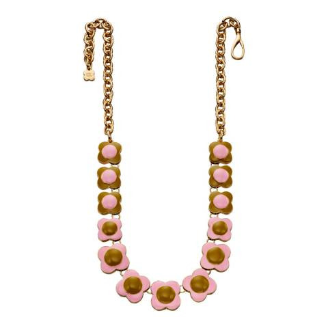 Orla Kiely Pink And Green Reversed Flower Short Necklace