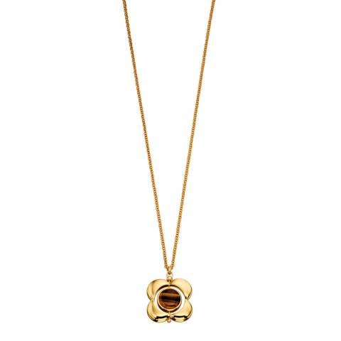 Orla Kiely Inlay Yellow Gold Plated Rotating Flower Long Pendant