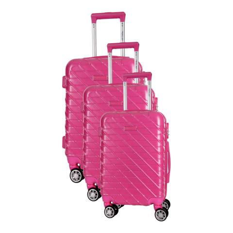 Travel One Fuschia Leiria Set of 3 S/M/L Suitcases