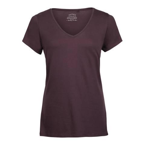 Fat Face Aubergine Hannah Vee Short Sleeve T-Shirt
