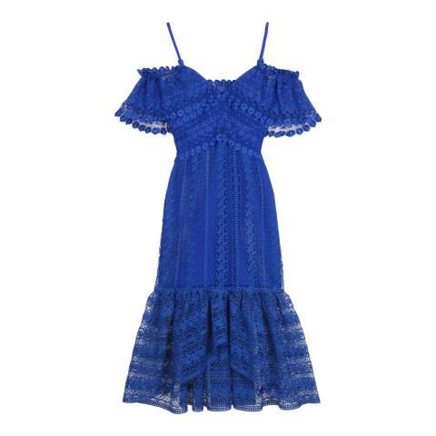 Three Floor Sapphire Blue Enfold Dress