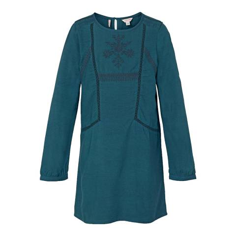 Fat Face Girls Teal Embroidered Isla Dress
