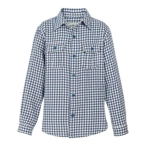 Fat Face Boys Slate Blue Raley Gingham Shirt