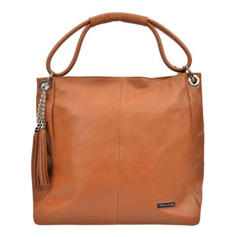 Anna Luchini Cognac Top Handle Bag