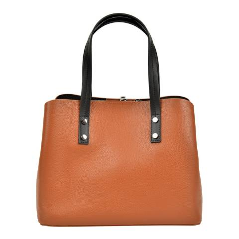 Anna Luchini Cognac Leather Top Handle Bag