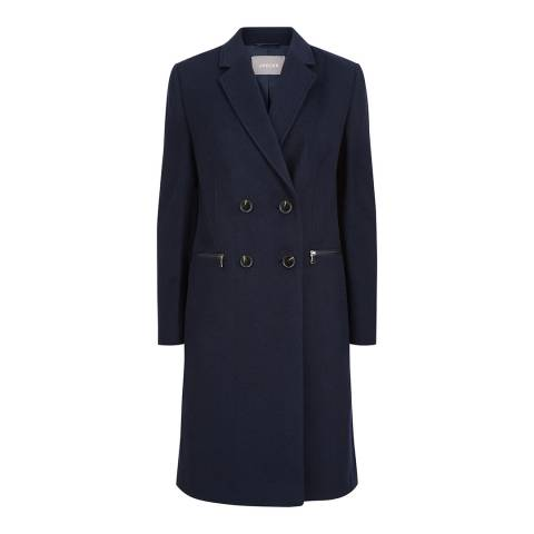 Jaeger Navy Zip Double Breasted Coat