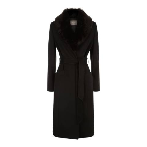 Jaeger Black Event Faux Fur Collar Coat