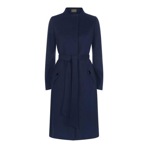 Jaeger Blue Funnel Neck Belted Swing Coat
