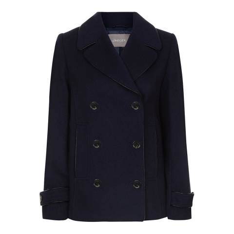 Jaeger Navy Faux Leather Trim Peacoat