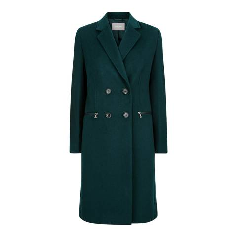 Jaeger Dark Green Zip Double Breasted Coat