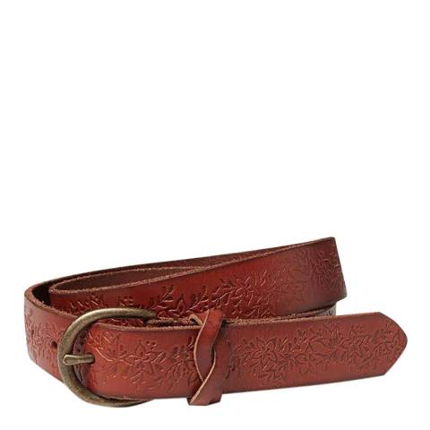Fat Face Chestnut Flower Embossed Leather Belt