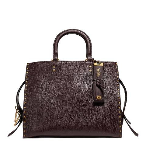 Coach Oxblood Rogue With Rivets Tote Bag