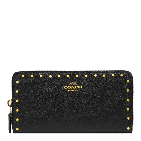 Coach Black Border Rivets Accordion Wallet