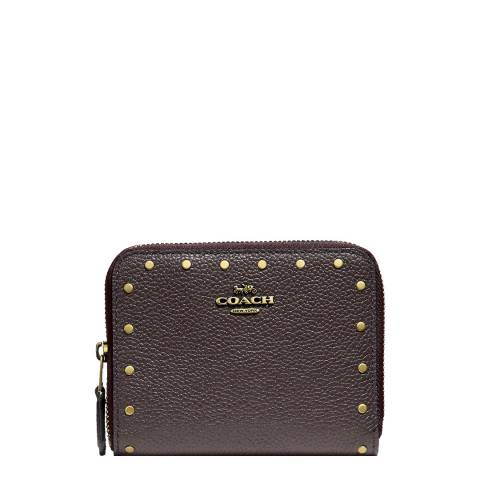 Coach Oxblood Border Rivets Small Wallet