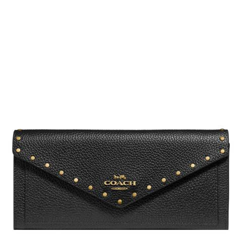 Coach Black Soft Wallet With Rivets