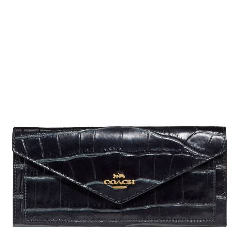 Coach Midnight Navy Embossed Croc Soft Wallet
