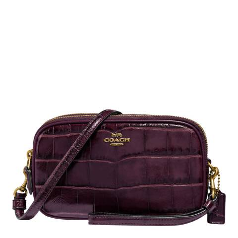 Coach Plum Embossed Croc Crossbody Bag