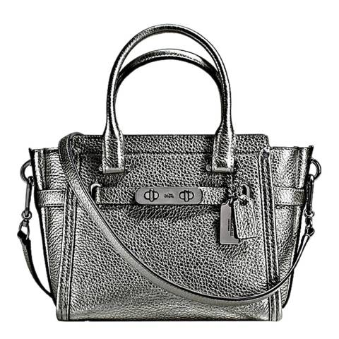 Coach Gunmetal Pebble Leather Swagger 21 Bag