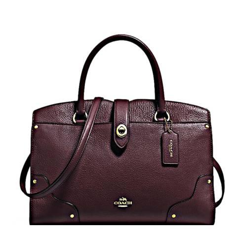 Coach Oxblood Grain Leather Mercer 30 Satchel Bag
