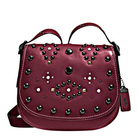 Coach Burgundy Western Rivets Saddle 23 Bag