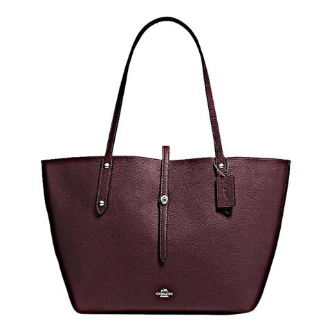 Coach Oxblood Polish Pebble Leather Market Tote Bag