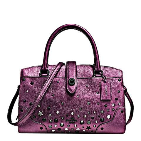 Coach Purple Star Rivets Mercer 24 Satchel Bag