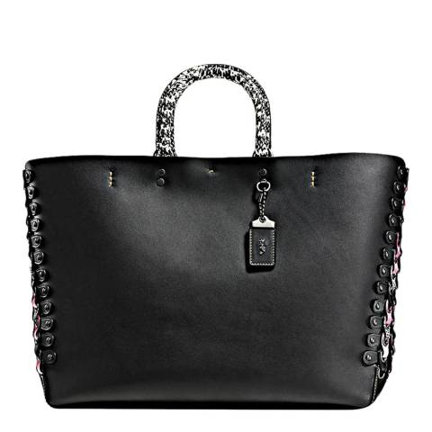 Coach Black Exotic Link Detail Rogue Tote Bag