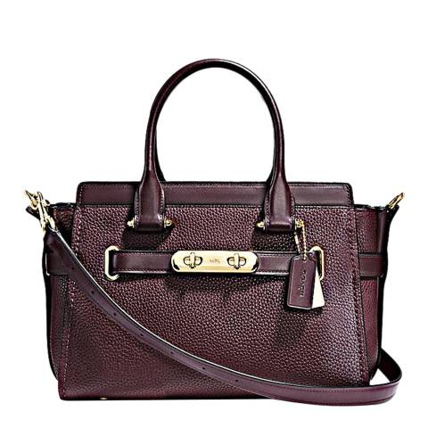 Coach Oxblood Pebbled Leather Refresh  Swagger 27 Bag