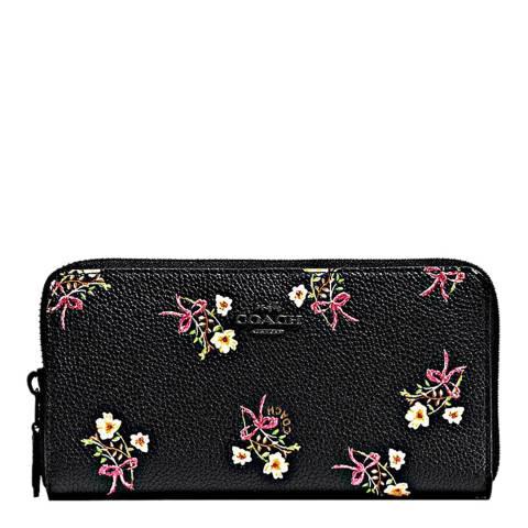 Coach Black Floral Bow Print Accordion Zip Wallet
