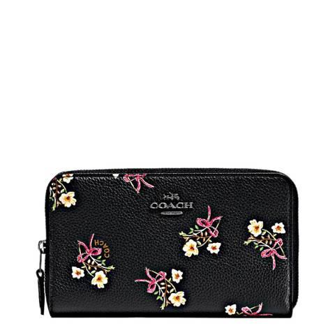 Coach Black Floral Bow Print Medium Zip Around Wallet
