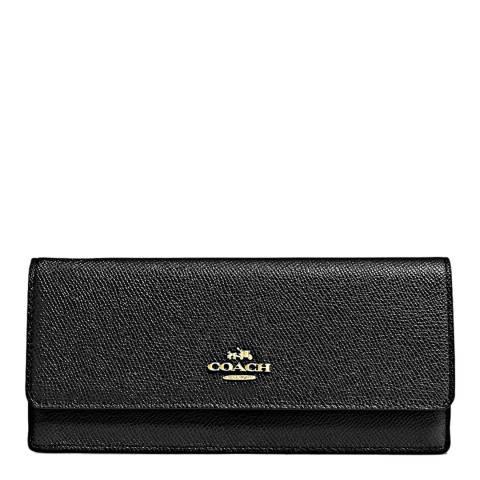 Coach Black Crossgrain Leather Soft Wallet