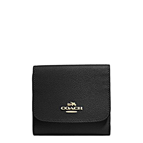 Coach Black Crossgrain Leather Small Wallet