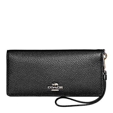 Coach Black Polished Pebble Leather Slim Wallet