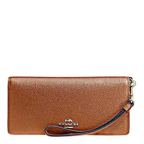 Coach Saddle Polished Pebble Leather Slim Wallet