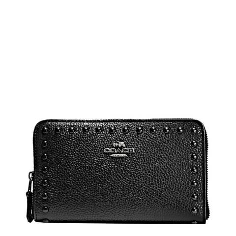 Coach Black Lacquer Rivets Medium Zip Around Wallet