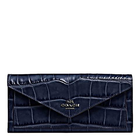 Coach Dark Navy Embossed Croc Soft Wallet
