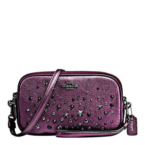 Coach Purple Metallic Star Rivets Crossbody Clutch Bag