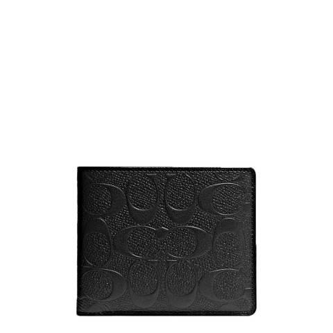 Coach Black Signature Crossgrain Compact ID Wallet