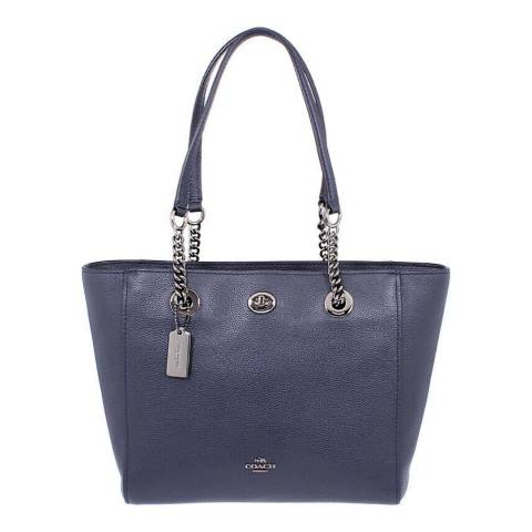 Coach Navy Pebble Turnlock Chain Tote