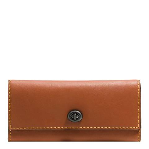 Coach Saddle Brown Glovetan Leather Turnlock Wallet