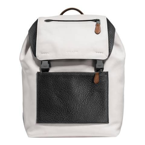 Coach Chalk / Black Mixed Leather Manhattan Backpack